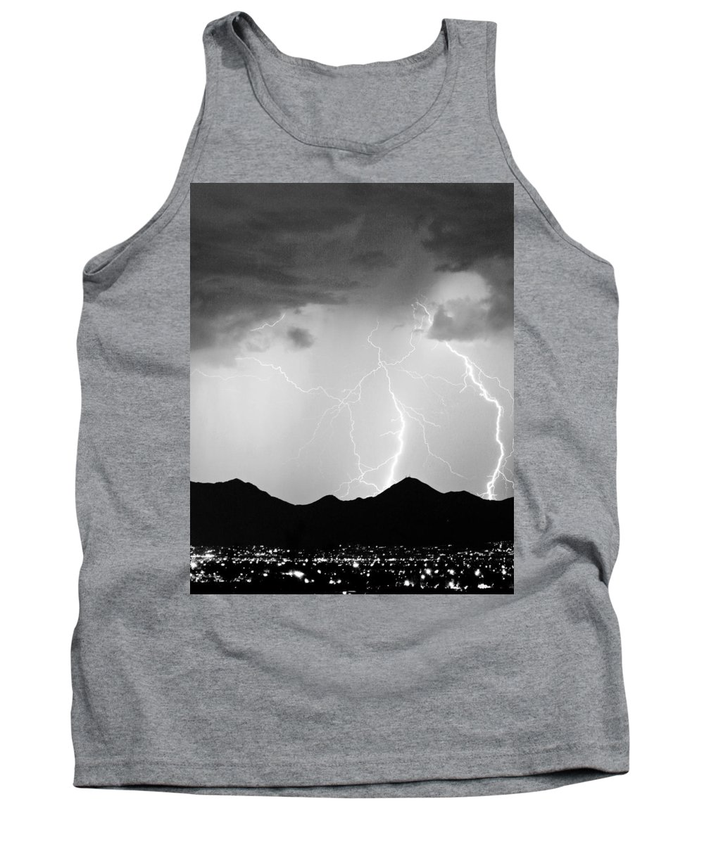 Lightning Tank Top featuring the photograph Midnight Hour Black And White by James BO Insogna