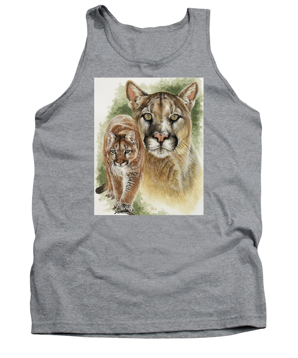 Cougar Tank Top featuring the mixed media Mighty by Barbara Keith