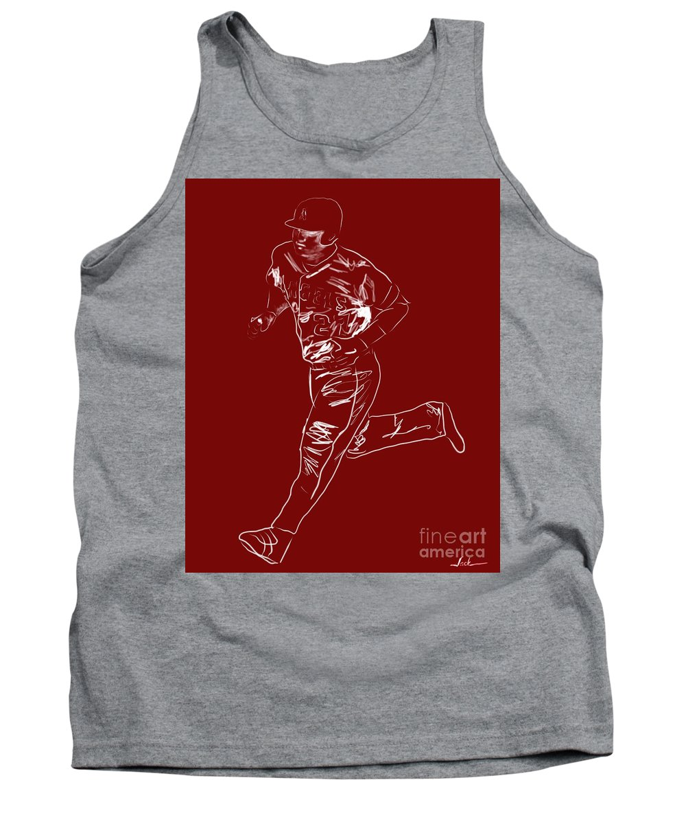 Mike Trout Tank Top featuring the painting Mike Trout Home Run Trot by Jack Bunds