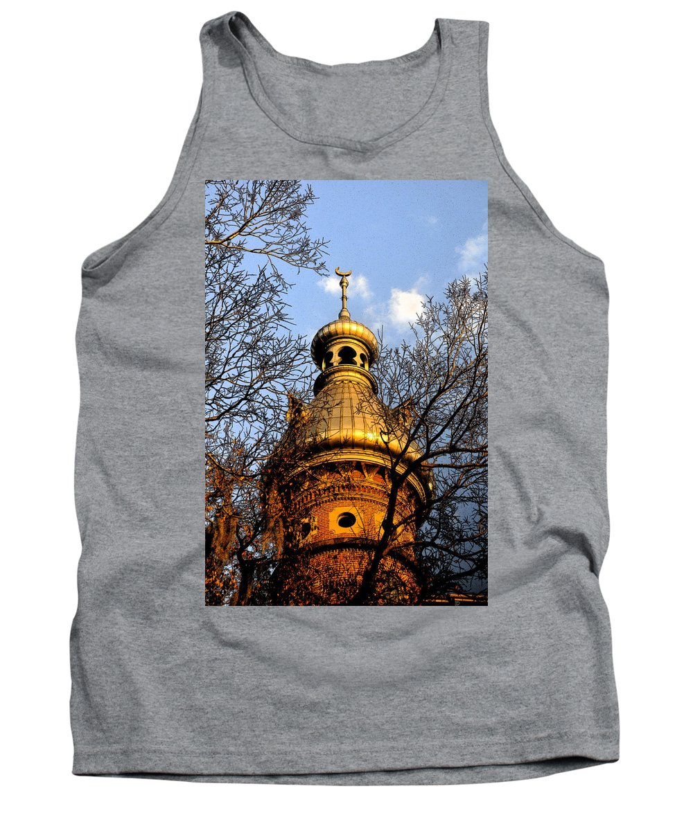 Minaret Tank Top featuring the painting Minaret Through Oak by David Lee Thompson