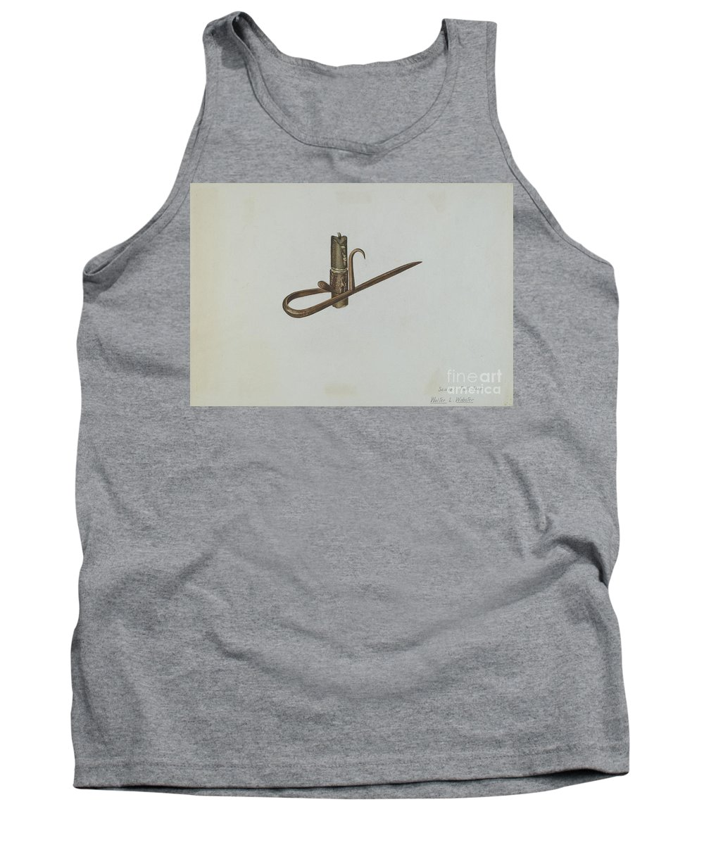 Tank Top featuring the drawing Miner's Candle Holder by Walter L. Webster