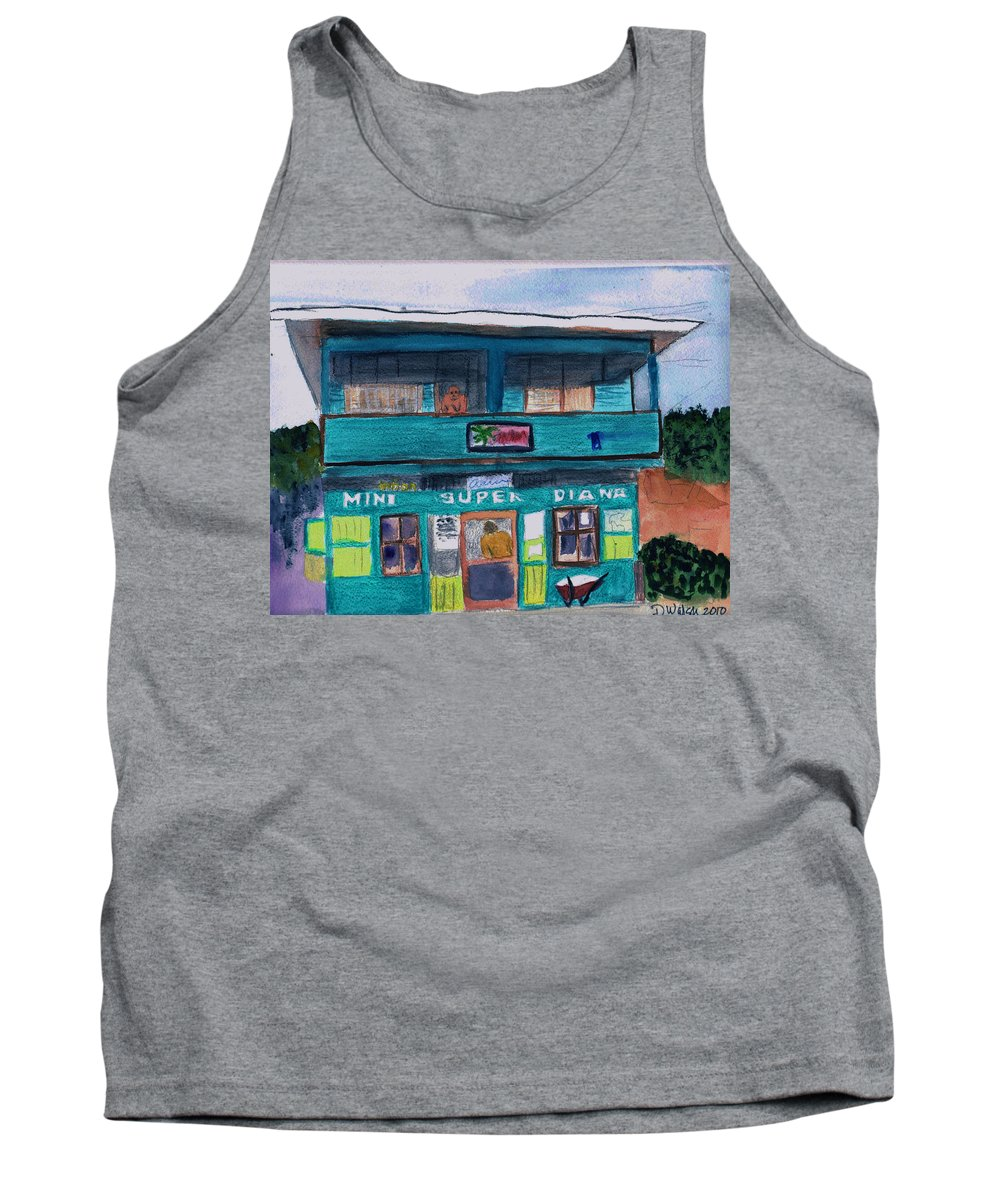 Market Tank Top featuring the painting Mini Super Diana by Donna Walsh