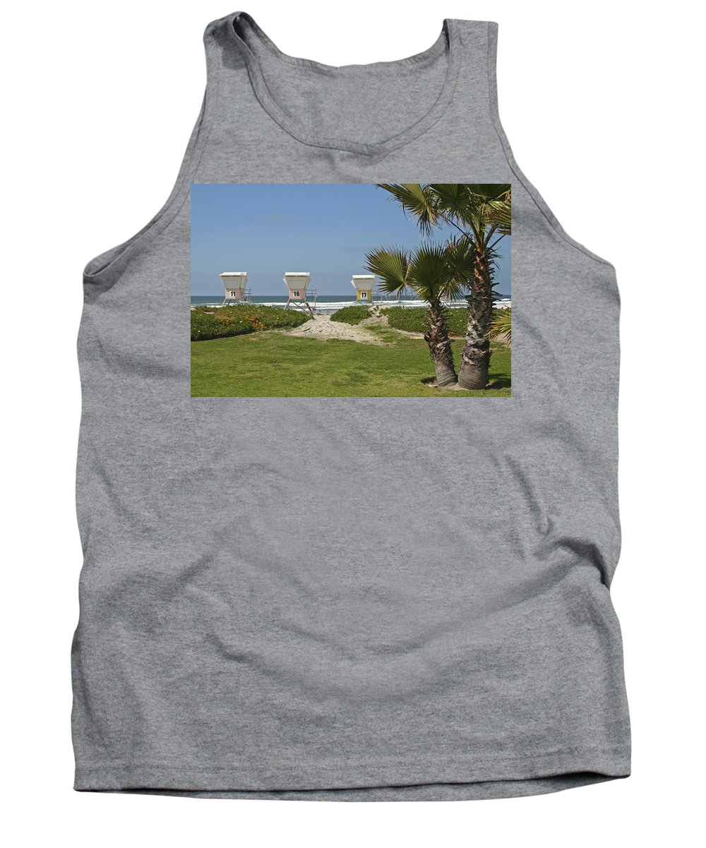 Beach Tank Top featuring the photograph Mission Beach Shelters by Margie Wildblood
