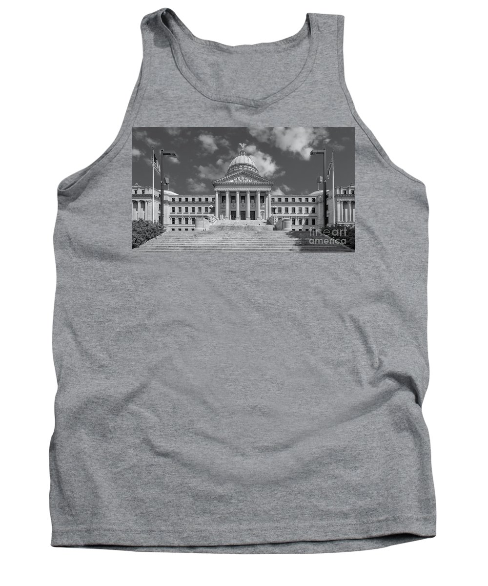 Architectural Tank Top featuring the photograph Mississippi State Capitol Bw by Jerry Fornarotto