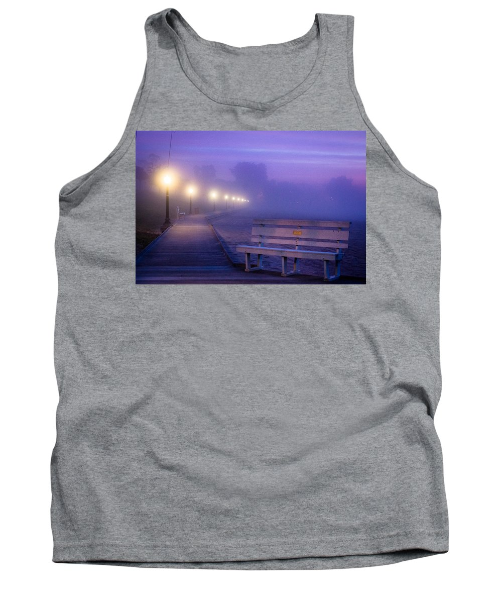 Algoma Tank Top featuring the photograph Misty Morning Boardwalk by Bill Pevlor