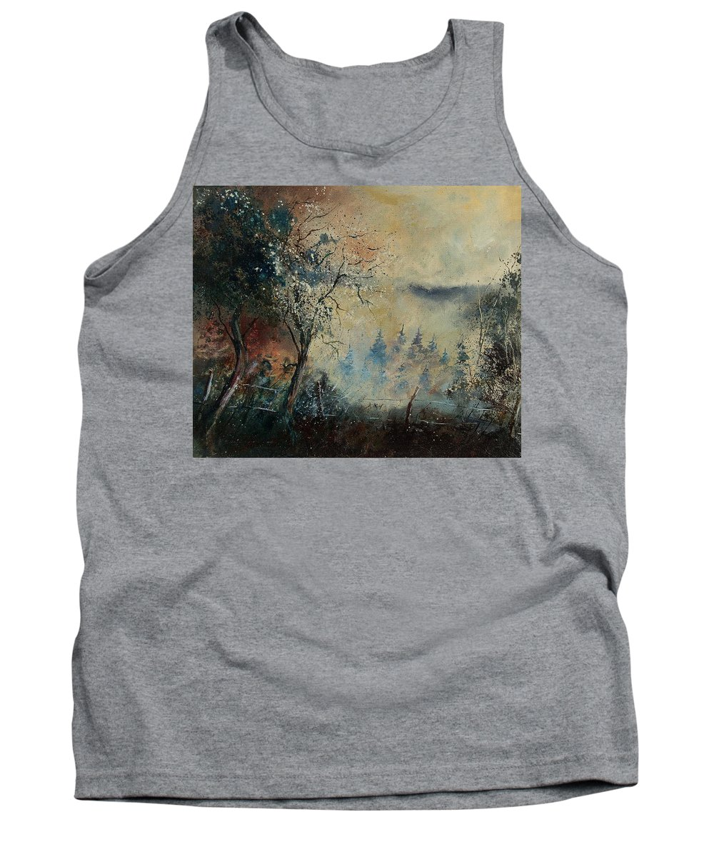 Tree Tank Top featuring the painting Misty Morning by Pol Ledent