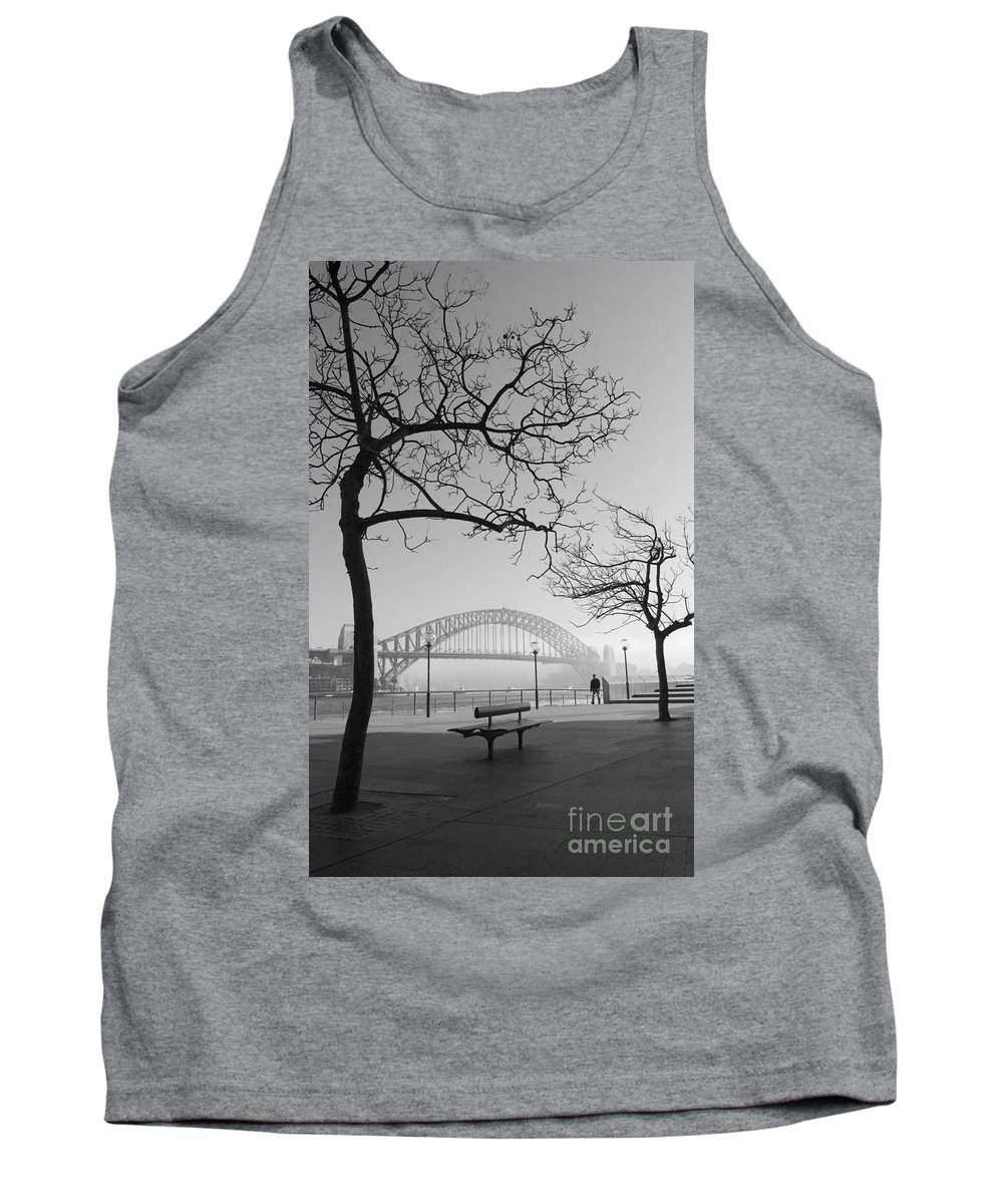 Sydney Harbour Bridge Mist Australia Tank Top featuring the photograph Misty Sydney Morning by Sheila Smart Fine Art Photography