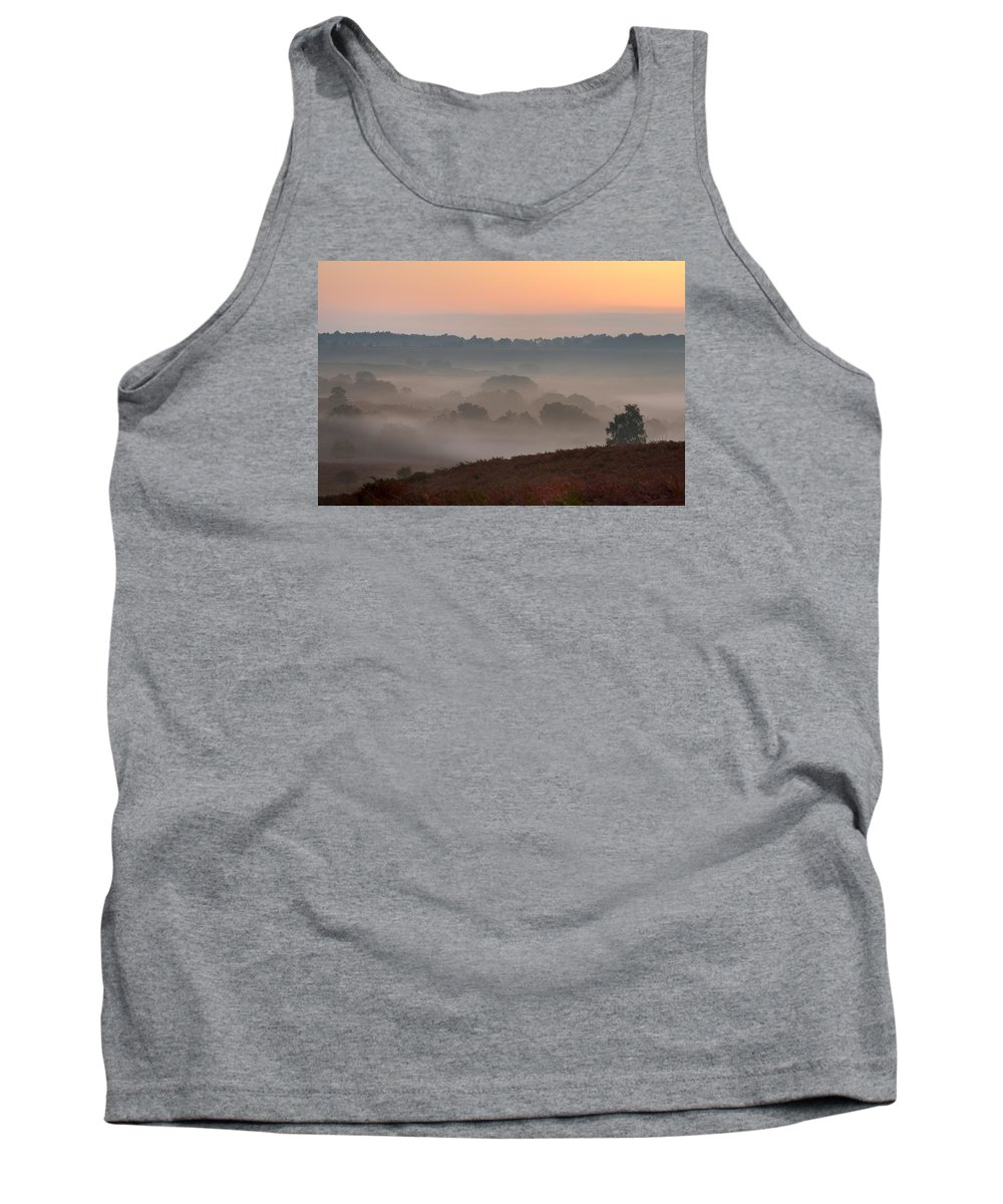 Mogshade Tank Top featuring the photograph Misty Valley Sunrise by Giovanni Giuliano
