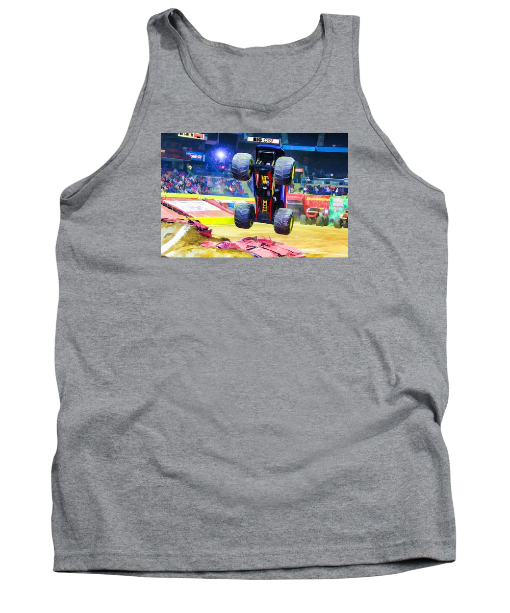 Monster Jam Tank Top featuring the painting Monster Jam 1 by Jeelan Clark