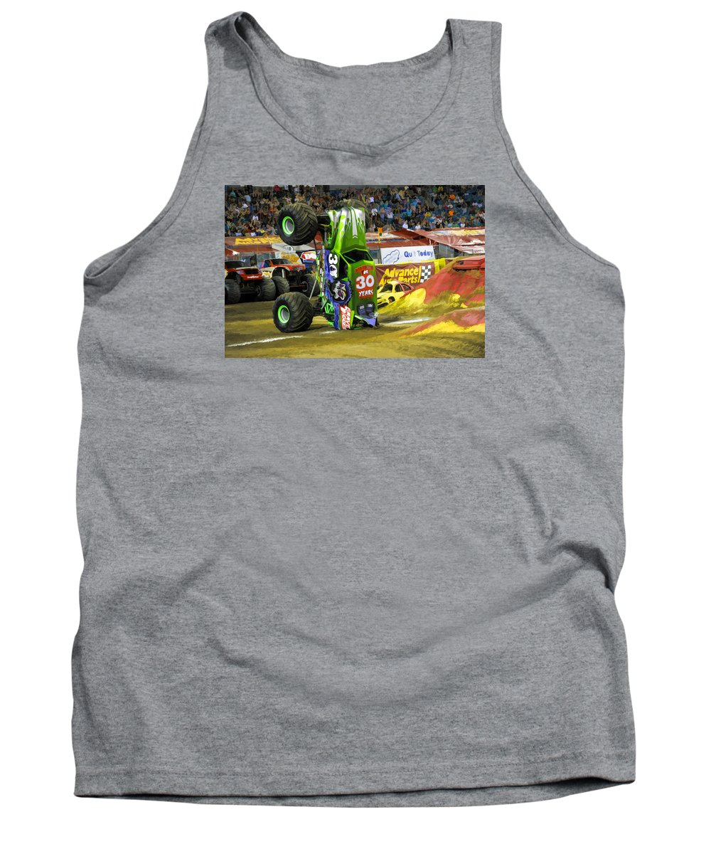 Grave Digger Monster Truck Tank Top featuring the painting Monster Jam 2 by Jeelan Clark