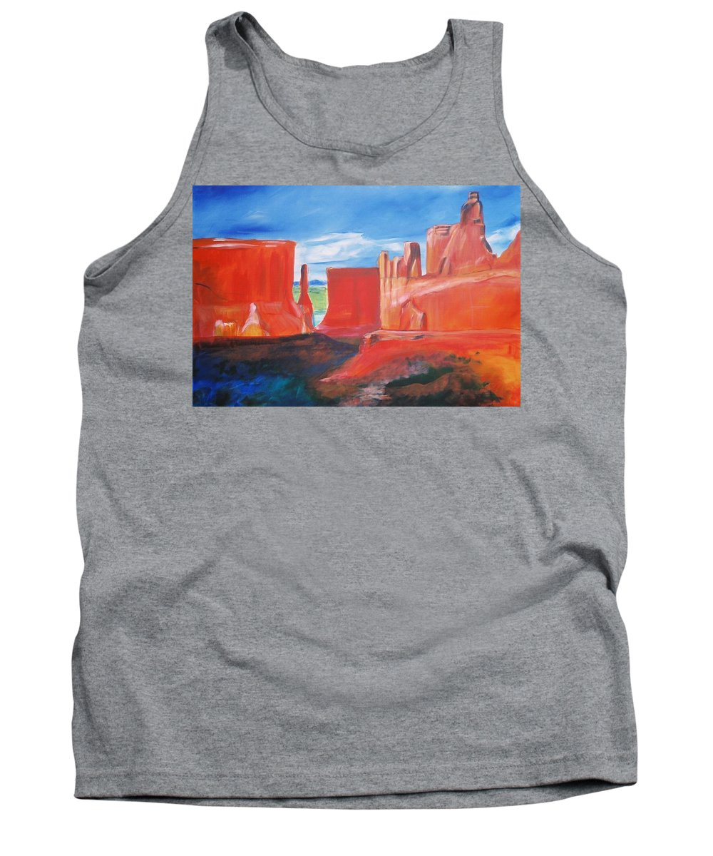 Floral Tank Top featuring the painting Monument Valley by Eric Schiabor