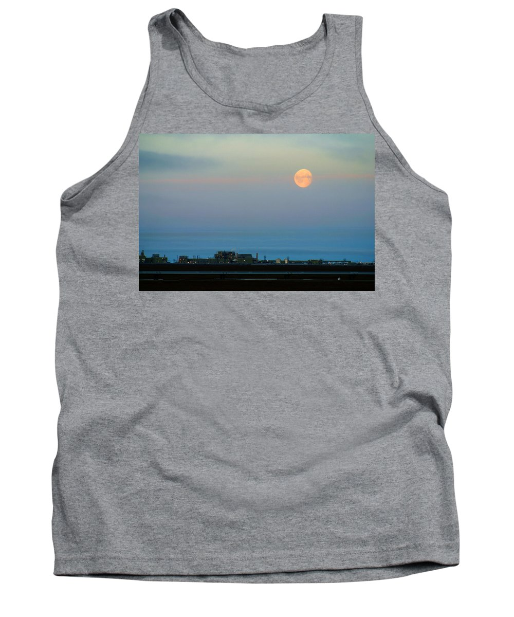 Landscape Tank Top featuring the photograph Moon Over Flow Station 1 by Anthony Jones