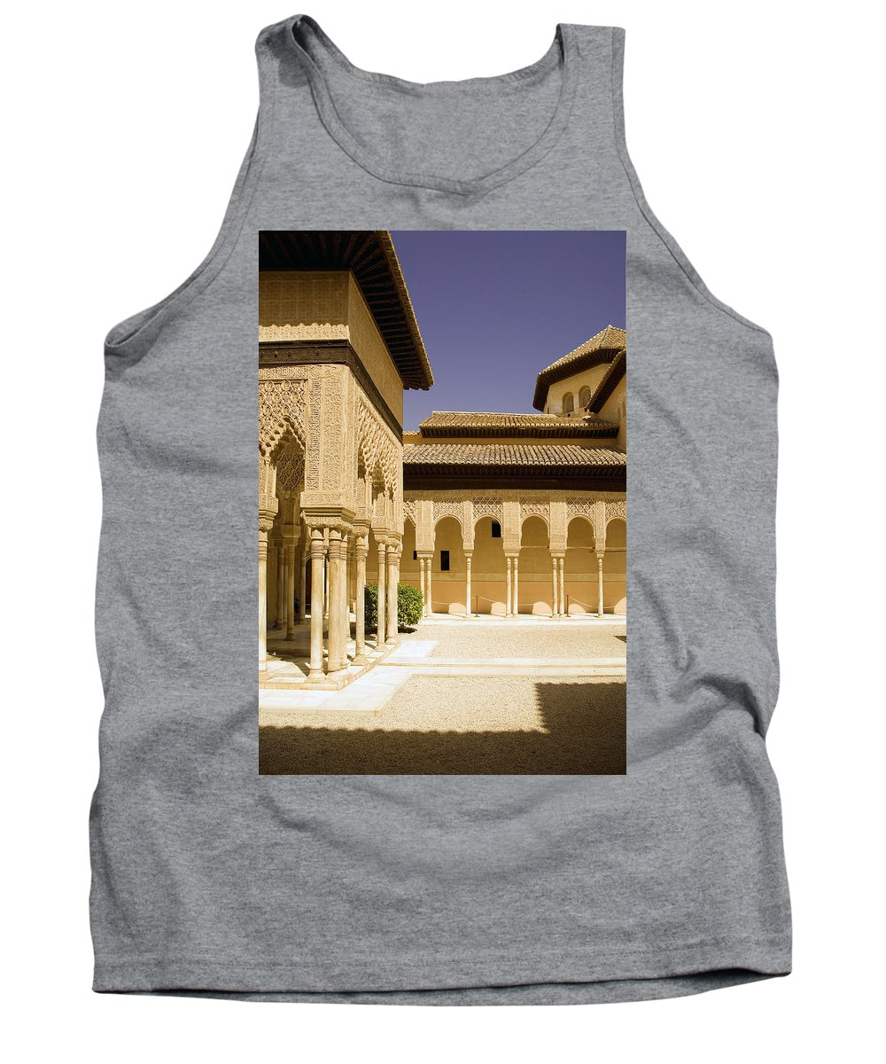 Moorish Tank Top featuring the photograph Moorish Architecture In The Nasrid Palaces At The Alhambra Granada by Mal Bray