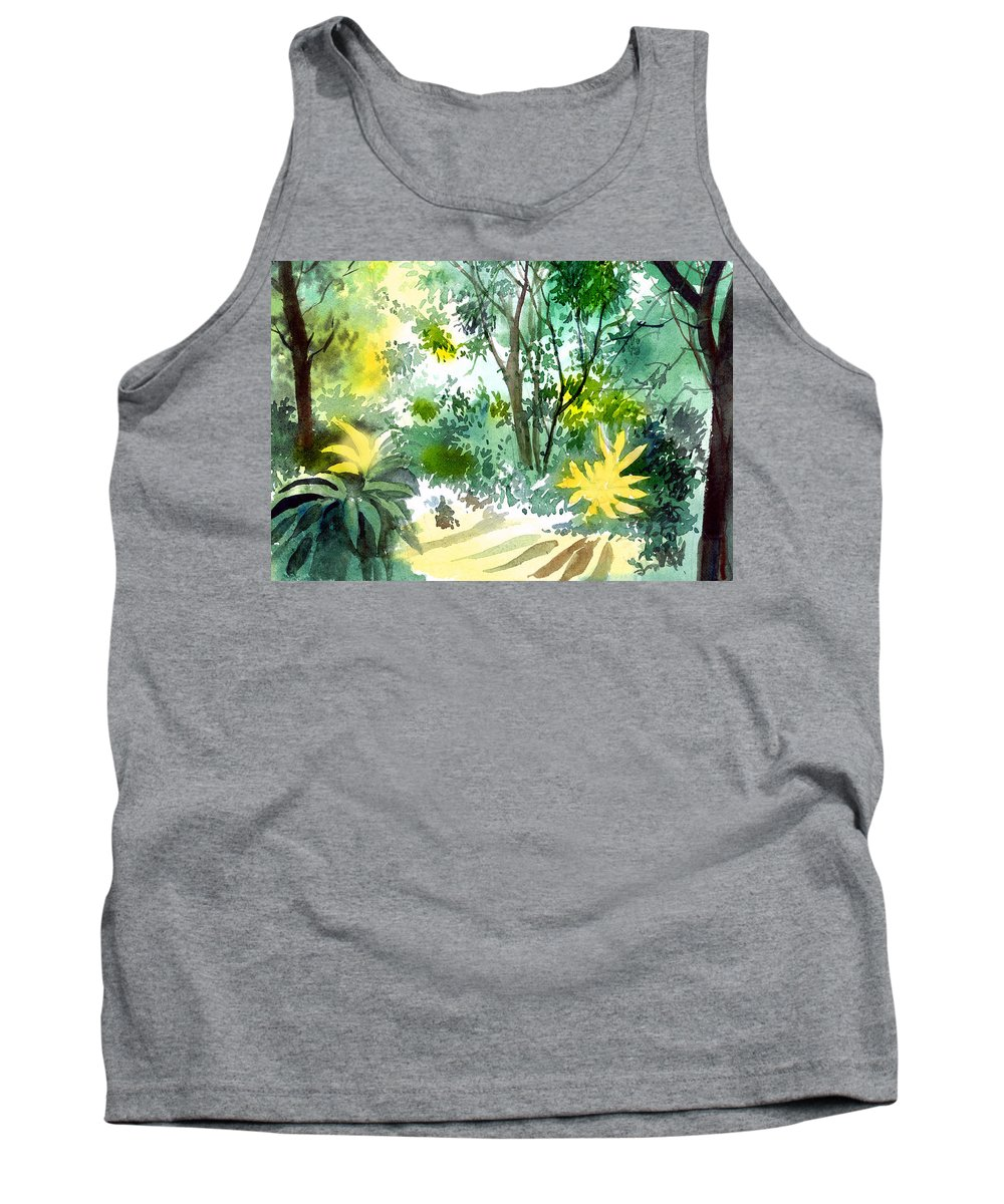 Landscape Tank Top featuring the painting Morning glory by Anil Nene