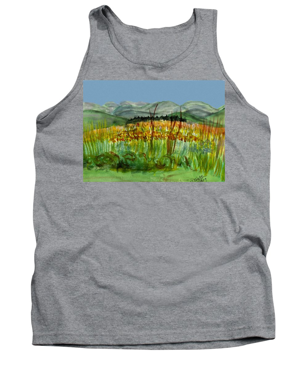 Batrton Vt Tank Top featuring the painting Morning In Backyard At Barton by Donna Walsh