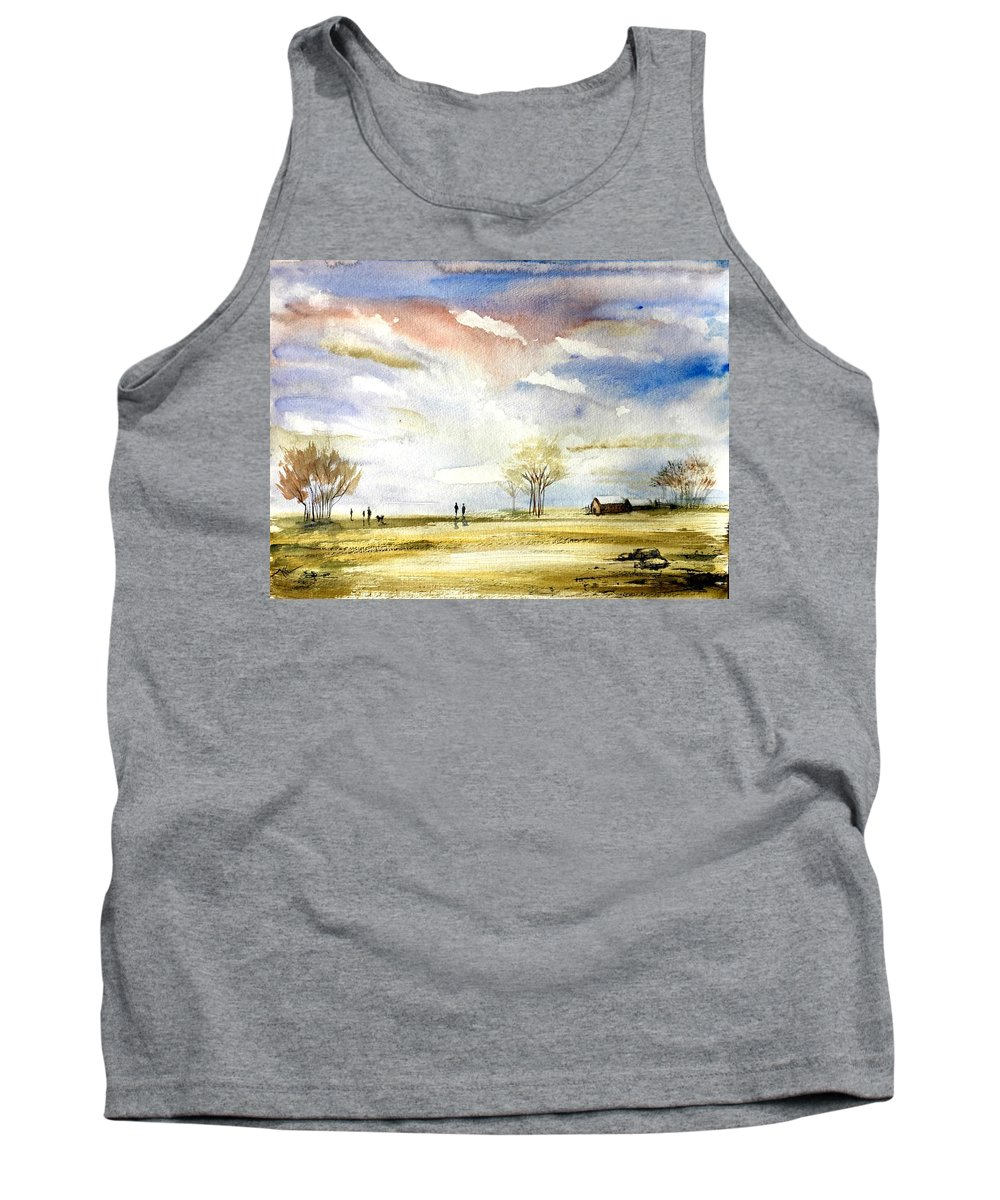 Landscape Tank Top featuring the painting Morning by Katerina Kovatcheva