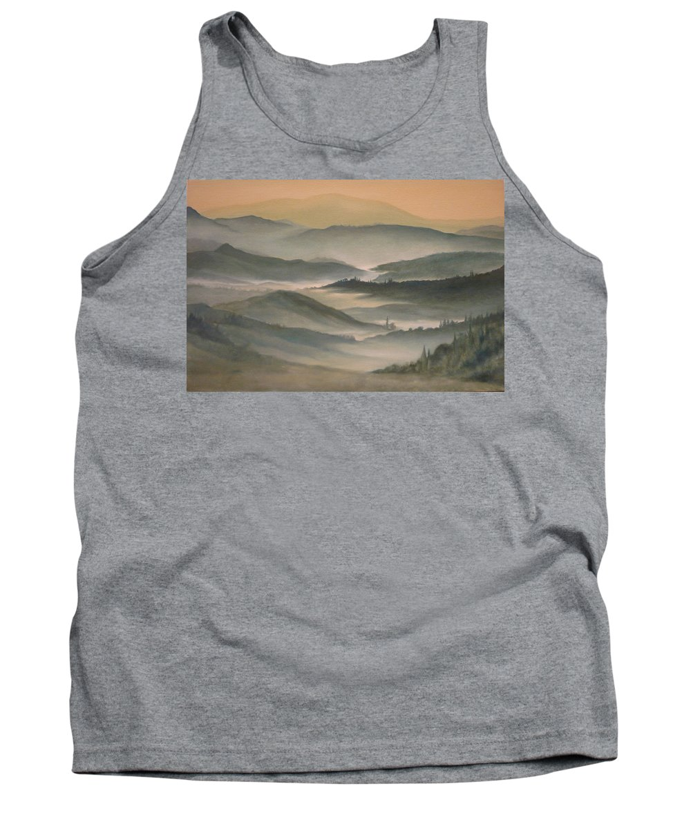 Landscape Tank Top featuring the painting Morning Mist by Caroline Philp