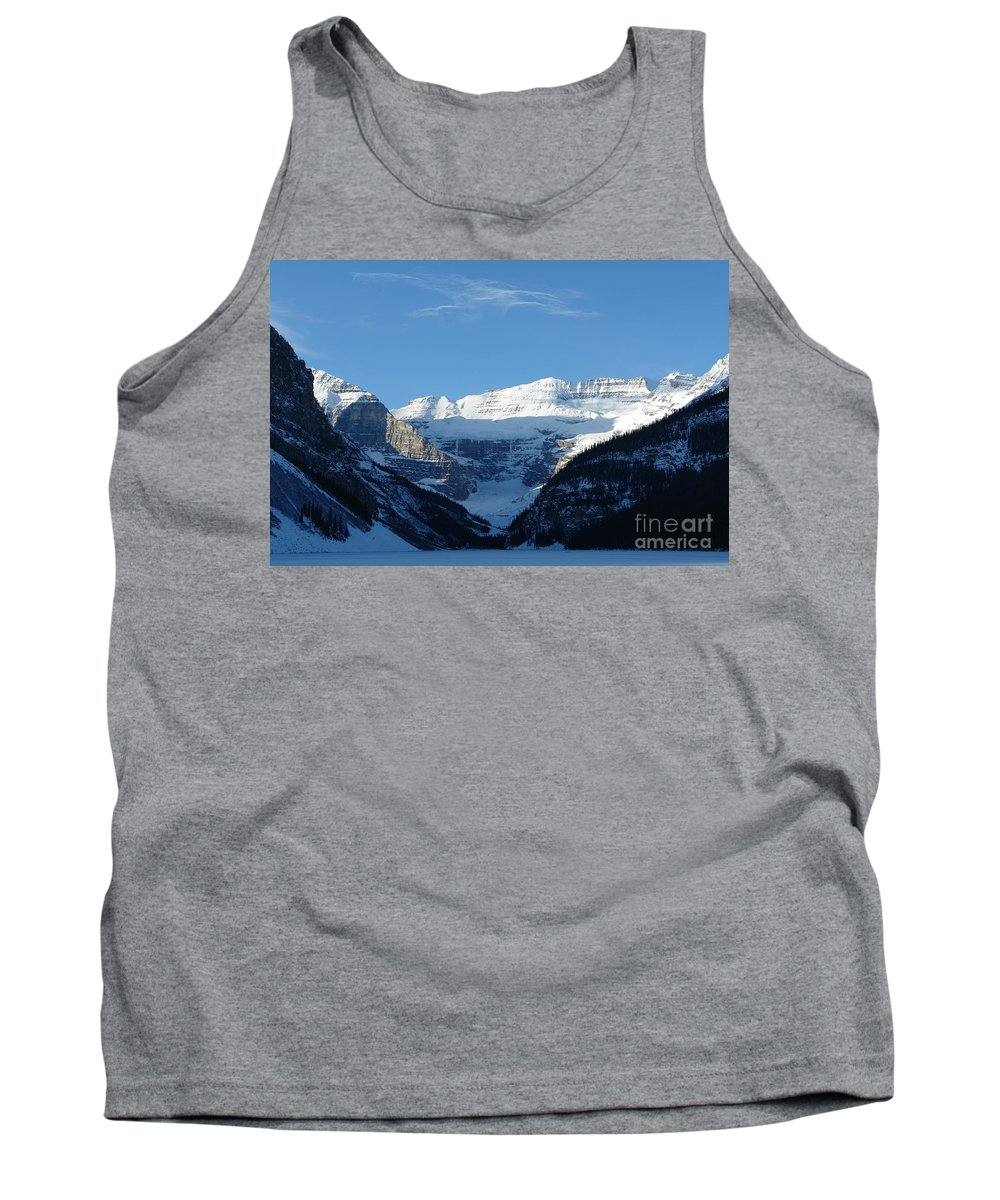 Kisses Tank Top featuring the photograph Morning Sunshine Kisses Snowy Peaks by Greg Hammond