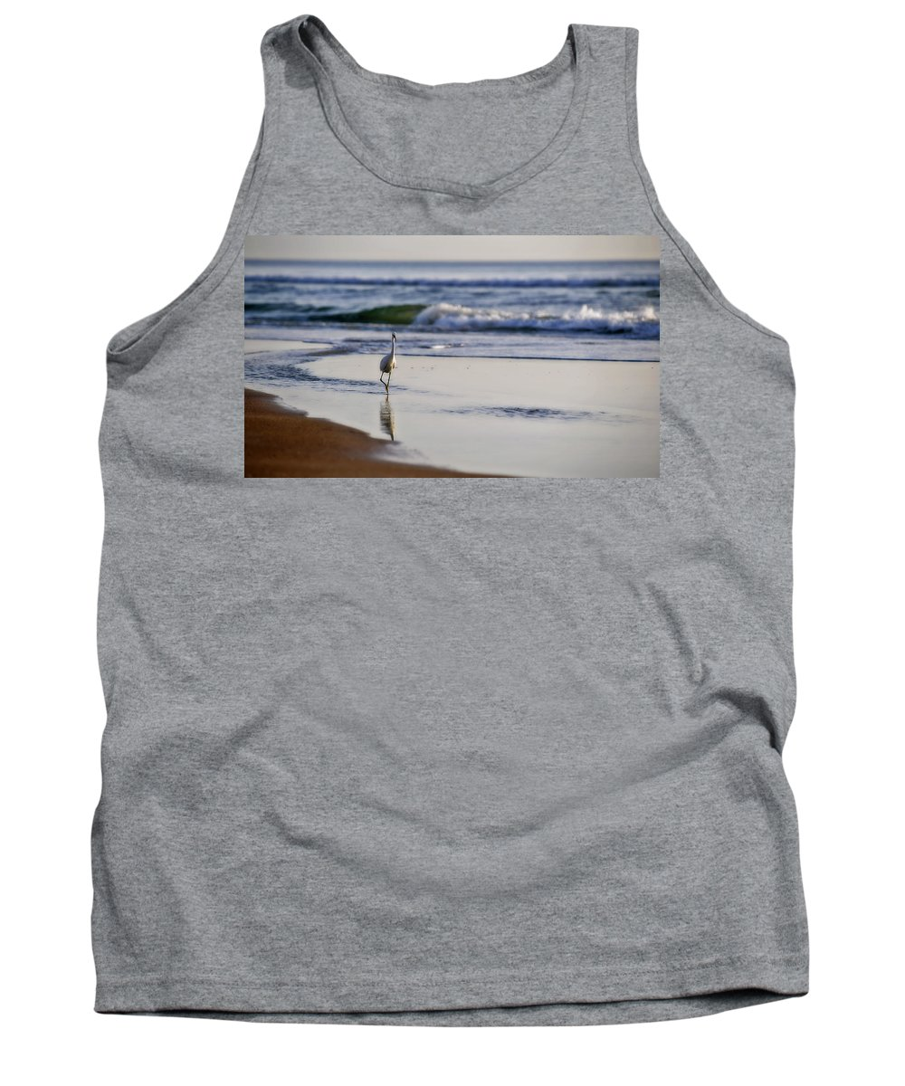 Bird Tank Top featuring the photograph Morning Walk At Ormond Beach by Steven Sparks