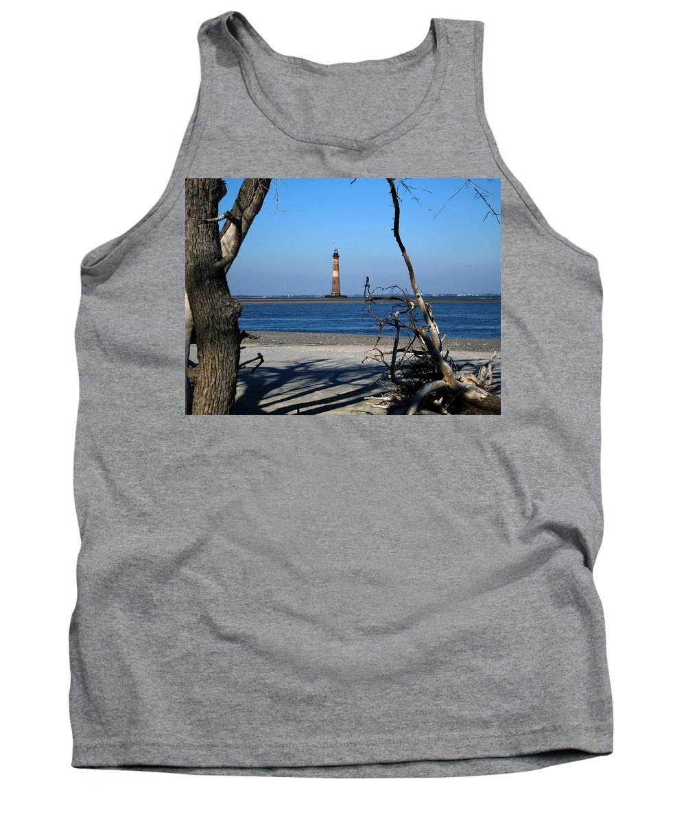 Photography Tank Top featuring the photograph Morris Island Lighthouse Charleston Sc by Susanne Van Hulst