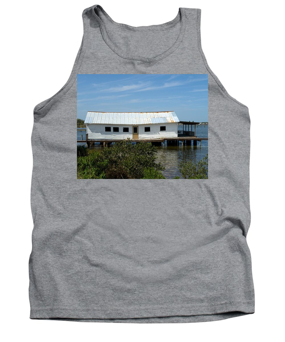 Florida; Oak; Hill; Mosquito; Lagoon; Old; Abandoned; Fish; House; Processing; Dock; Pier; Wharf; Bo Tank Top featuring the photograph Mosquito Lagoon Florida by Allan Hughes