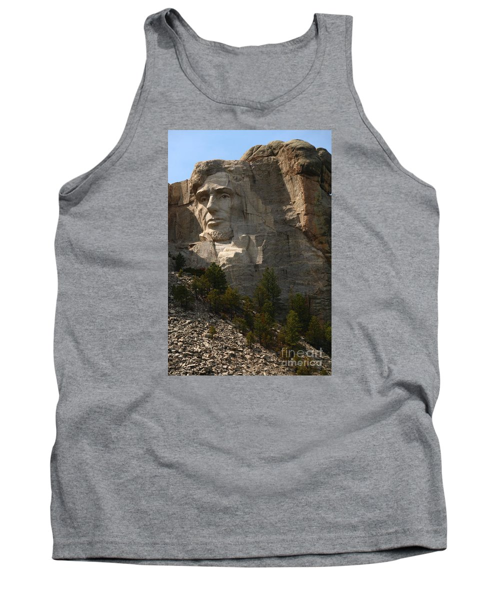 Mount Tank Top featuring the photograph Mount Rushmoore Detail - Abraham Lincoln by Christiane Schulze Art And Photography