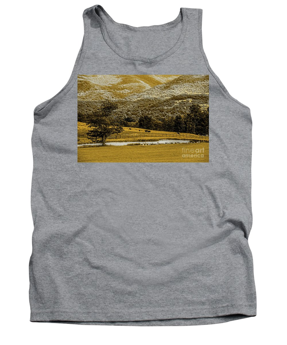 Mountains Tank Top featuring the photograph Mountain Farm With Pond In Artistic Version by Doug Berry