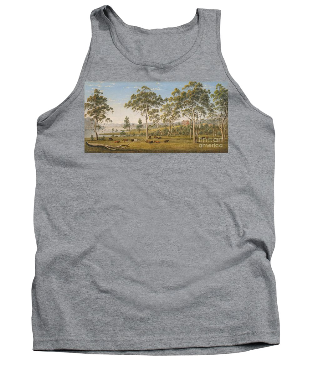 John Glover Tank Top featuring the painting Mr Robinson's House On The Derwent Van Diemen's Land by Celestial Images