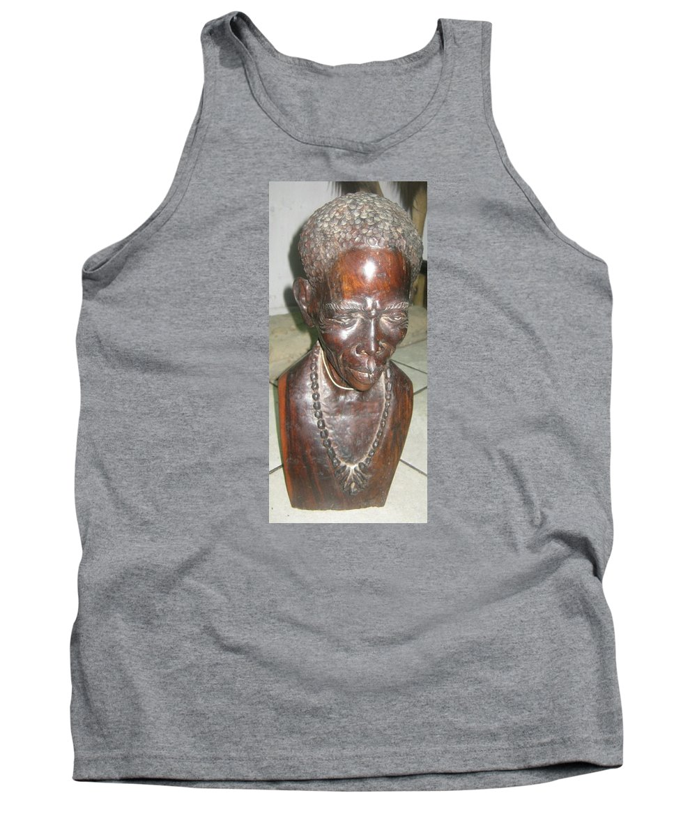 Mr Story Teller African Warrior Art Studios Wooden Sculpture Art Tribe Collection African Artist Tank Top featuring the sculpture Mr Story Teller by Pending