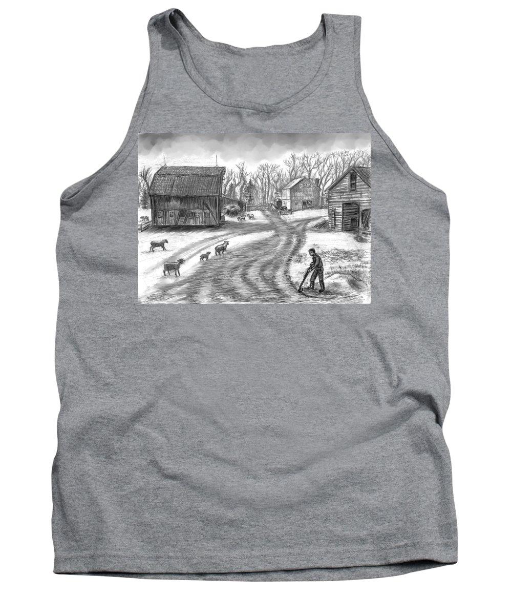 Farm Tank Top featuring the drawing Muddy South Dakota Farmyard by Dawn Senior-Trask