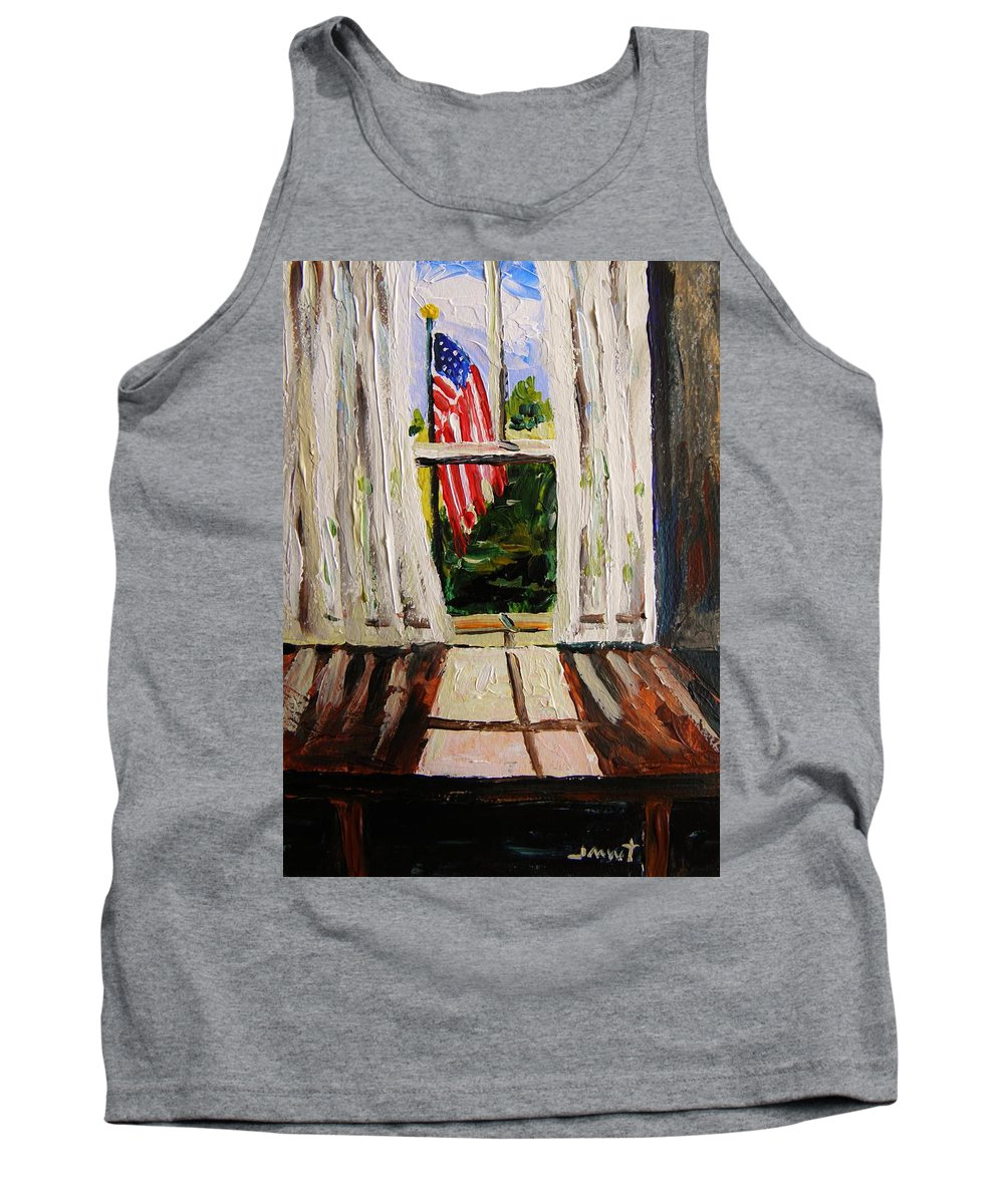 American Flag Tank Top featuring the painting Musing-glory Through The Window by John Williams