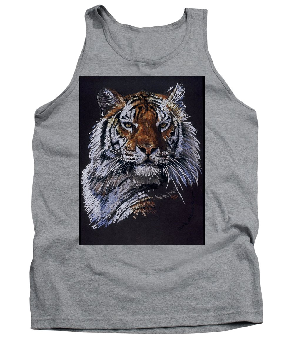 Tiger Tank Top featuring the drawing Nakita by Barbara Keith