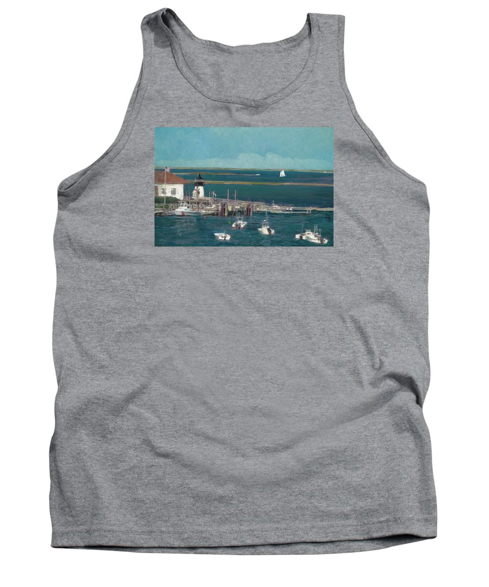 Landscape Tank Top featuring the painting Nantucket Harbor by Thomas Tribby