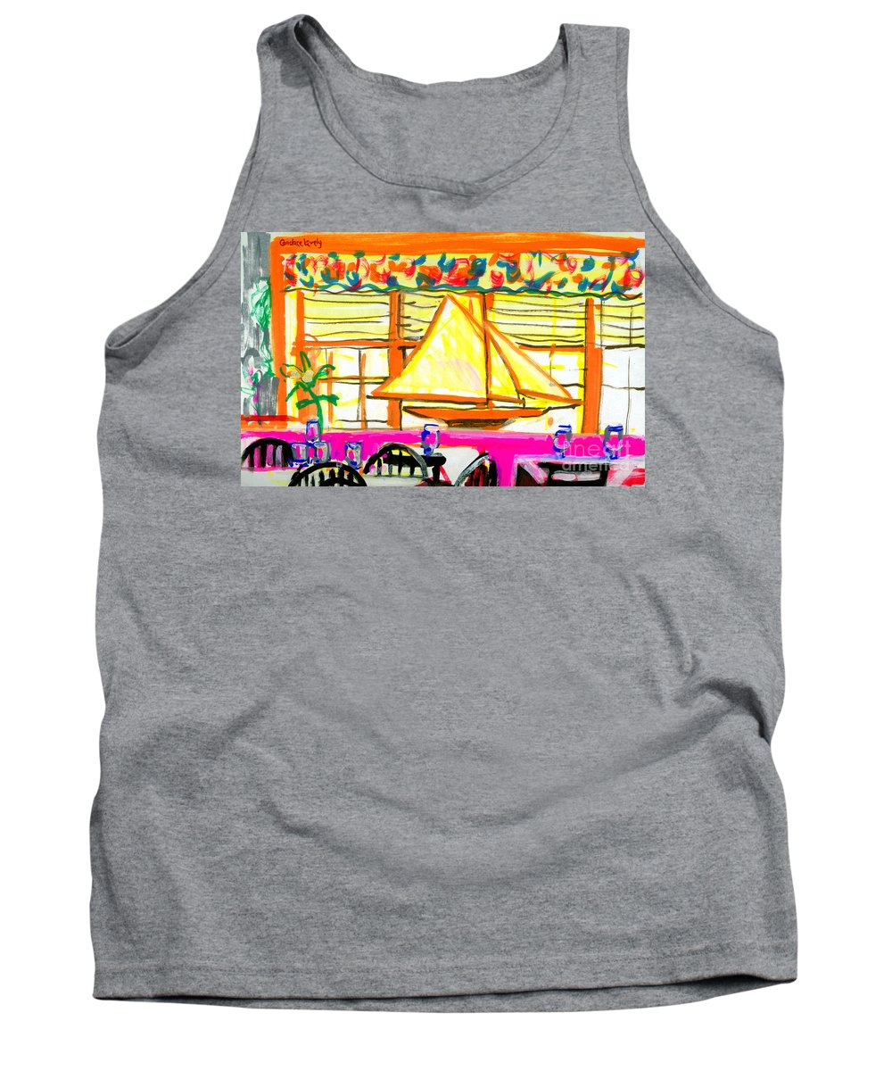 Restaurant Tank Top featuring the painting Nantucket Restaurant by Candace Lovely