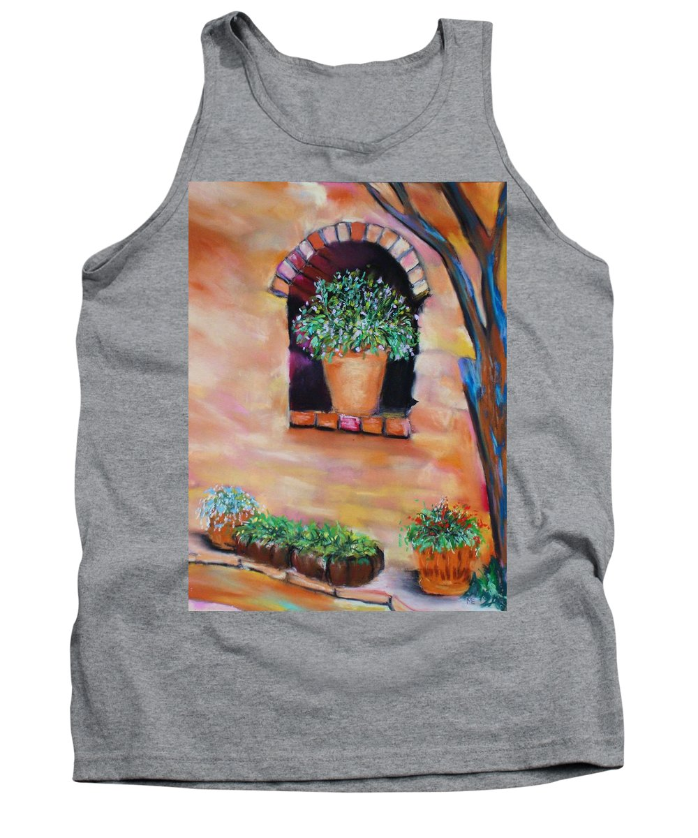 Courtyard Tank Top featuring the painting Nash's Courtyard by Melinda Etzold