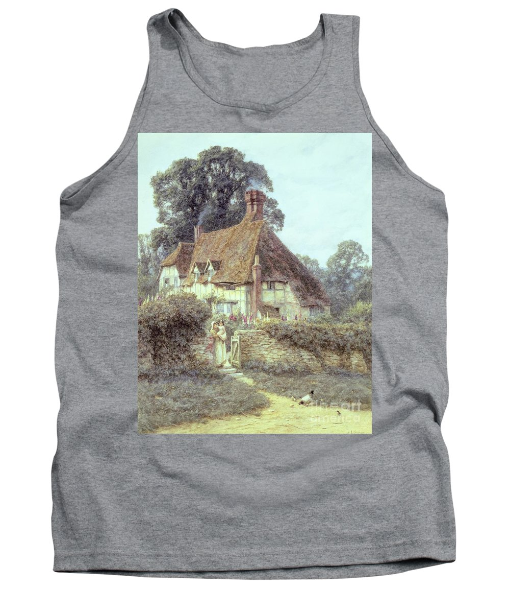 Cottage; Mother And Child; Gate; Rural Scene; Country; Countryside; Home; Path; Garden; Wildflowers; Chicken; Roses; Picturesque; Idyllic; Daughter; Timber Frame; Half-timbered; House; Female Tank Top featuring the painting Near Witley Surrey by Helen Allingham