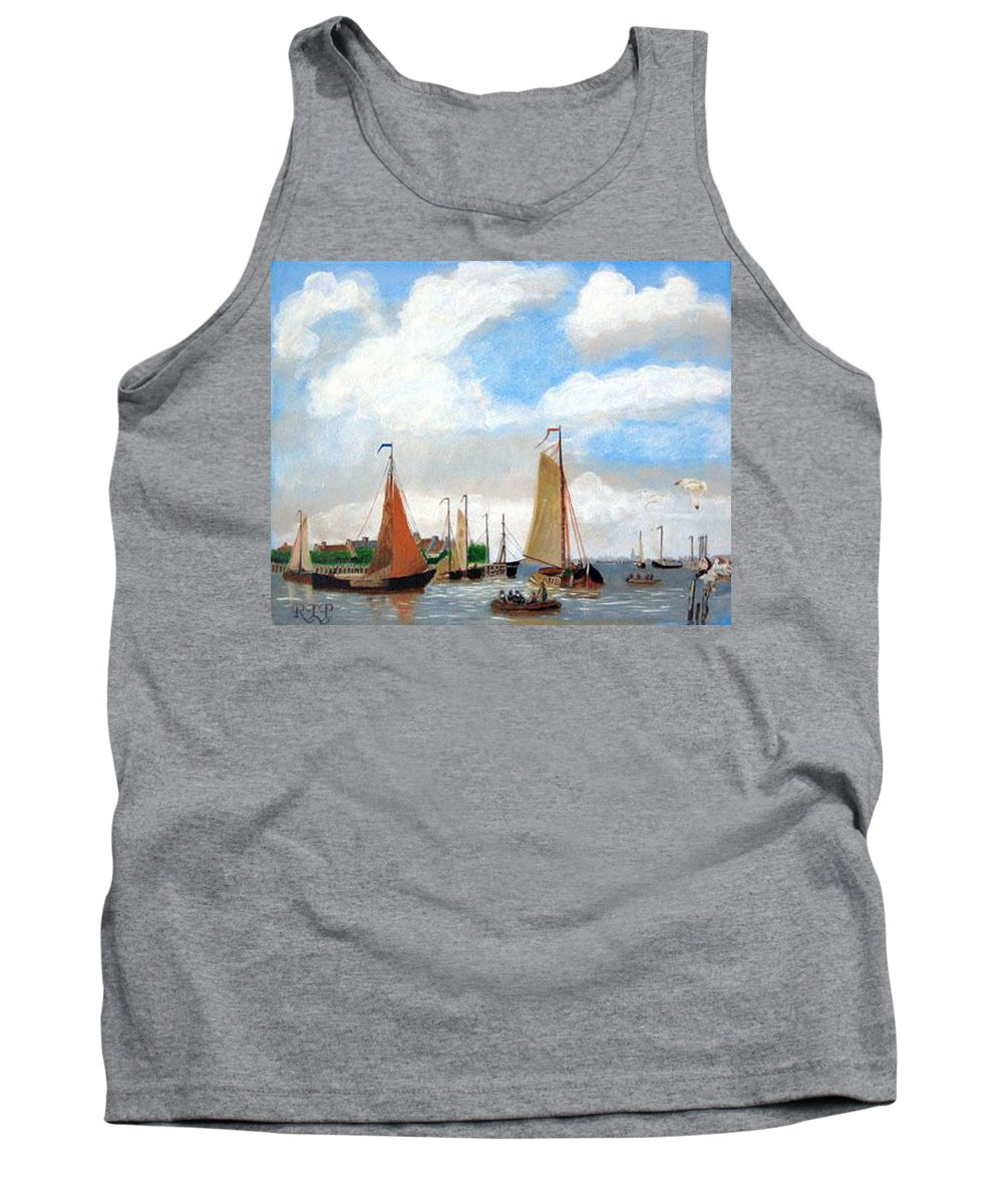 Netherlands Tank Top featuring the painting Netherland's Harbour by Richard Le Page