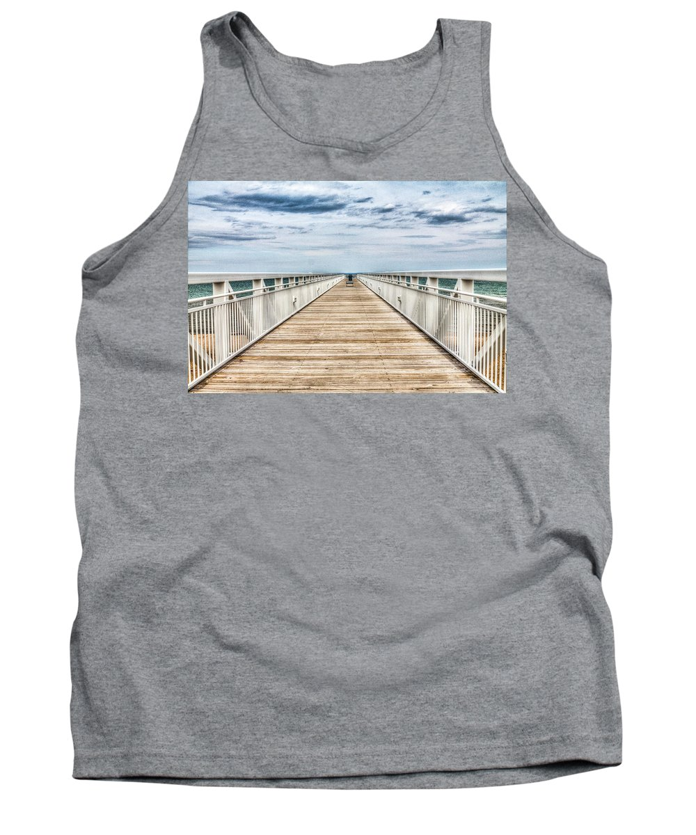 Beach Tank Top featuring the photograph Never Ending Beach Pier by Tammy Scott