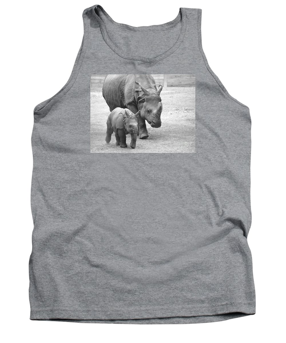 Rhino Tank Top featuring the photograph New Born Rhino And Mom by Jennifer Craft