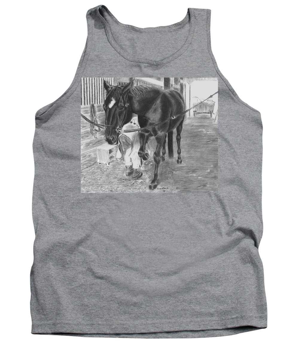 Horse Tank Top featuring the drawing New Shoes by Quwatha Valentine