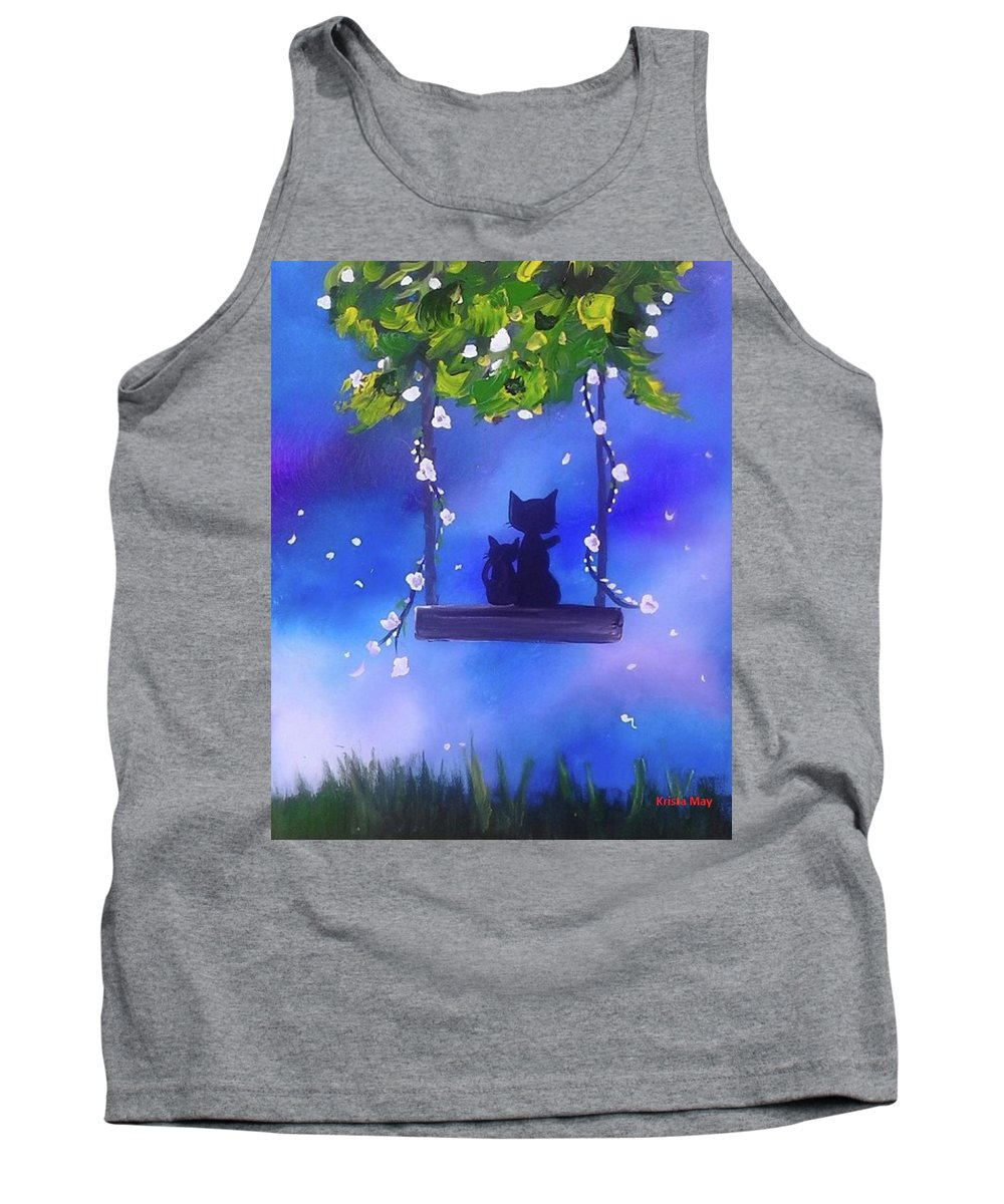 Cat Tank Top featuring the painting Night Stories by Krista May