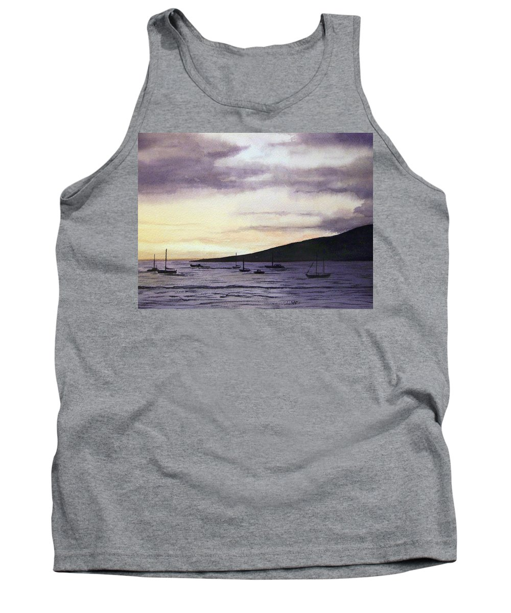 Seascape Tank Top featuring the painting No Safer Harbor Lahaina Hawaii by Brenda Owen