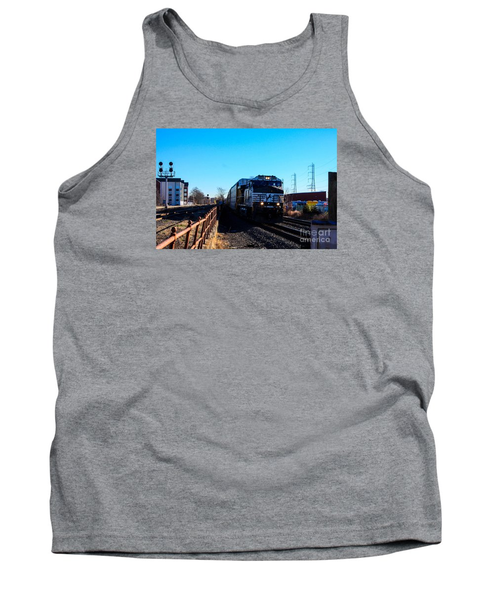 This Is A Photo Of Norfolk Southern Engine 9899 Entering The Bound Brook Train Station In New Jersey Tank Top featuring the photograph Norfolk Southern Engine 9899 by William Rogers