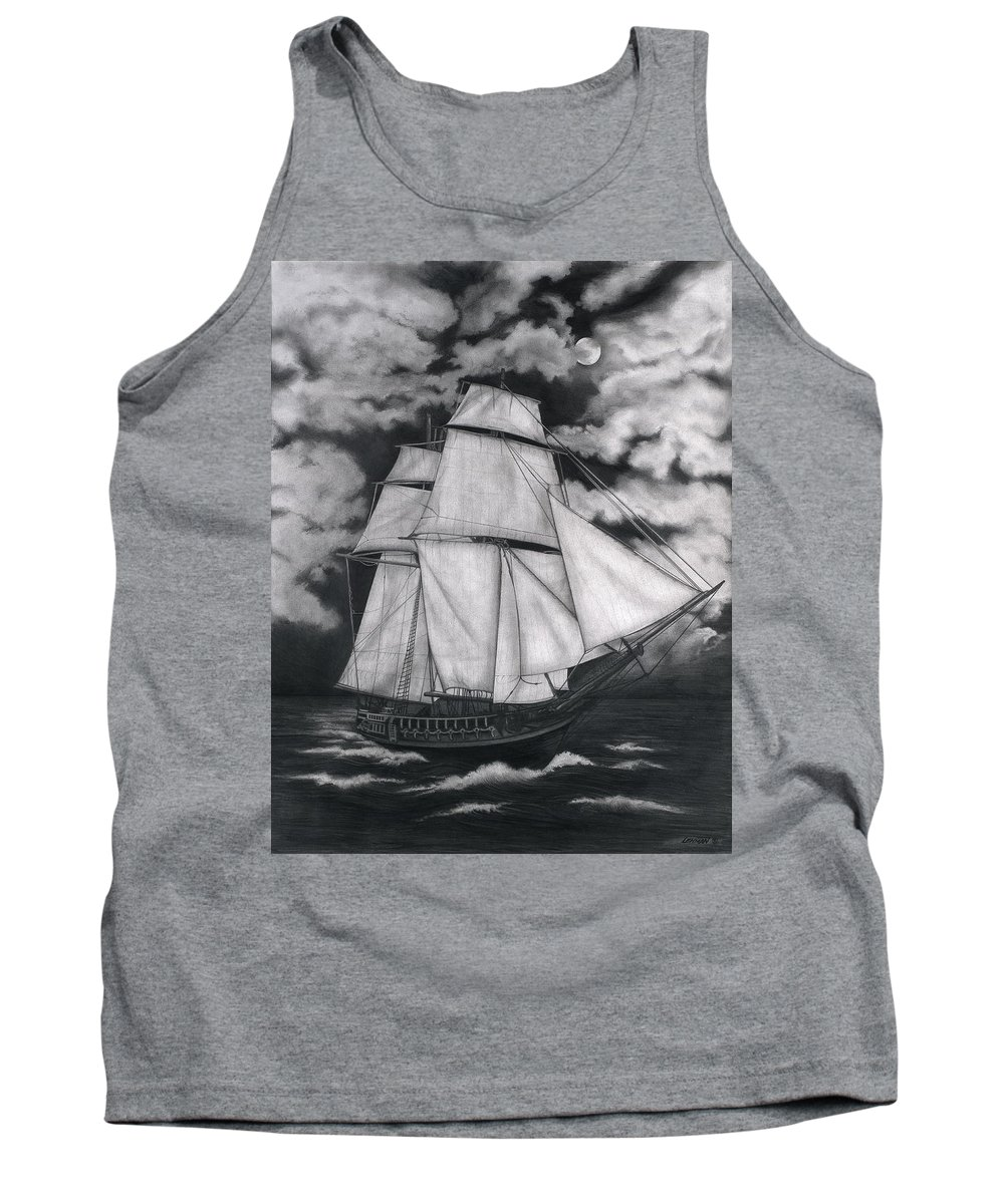 Ship Sailing Into The Northern Winds Tank Top featuring the drawing Northern Winds by Larry Lehman