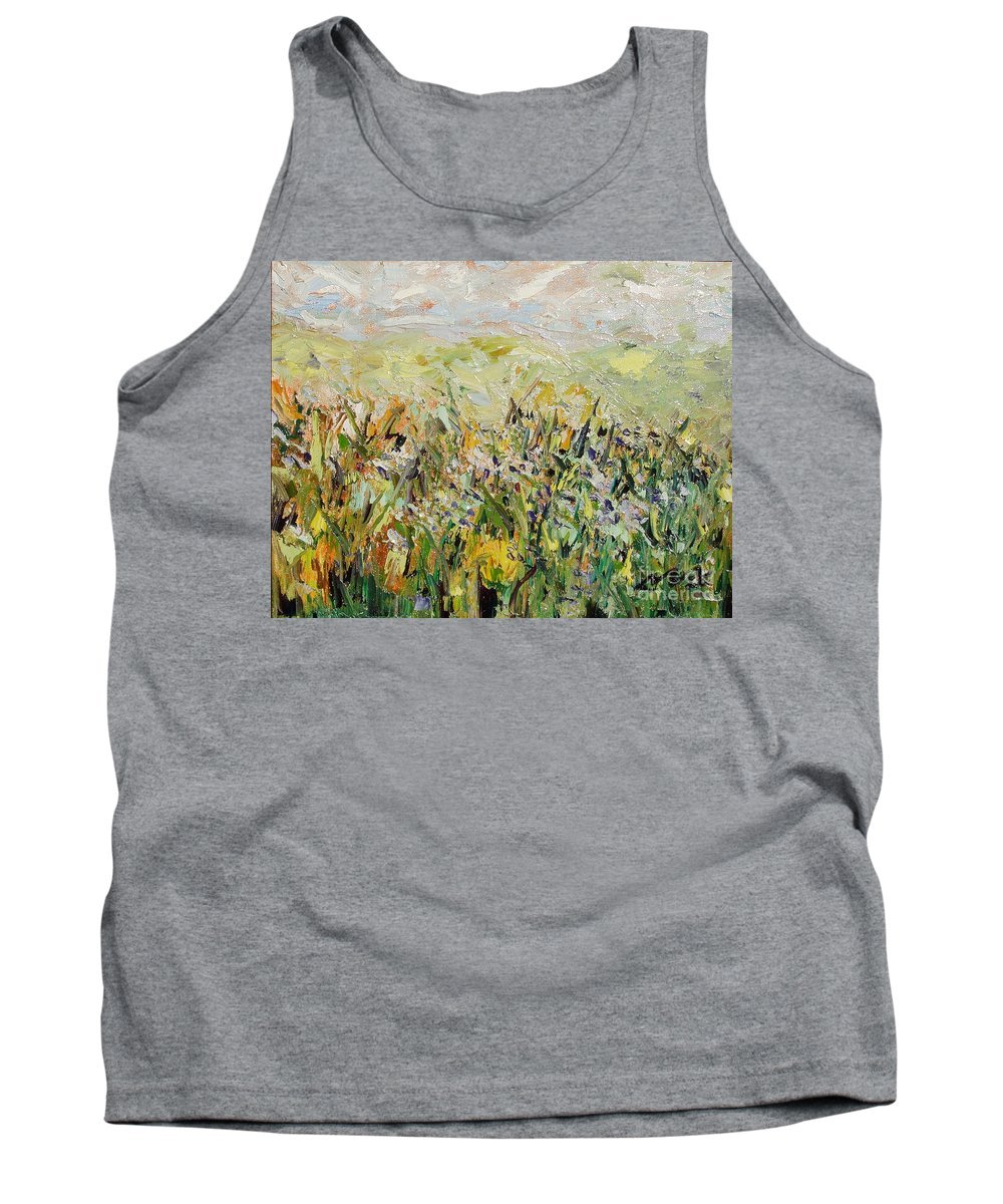 Field Paintings Tank Top featuring the painting Nose Hill by Seon-Jeong Kim