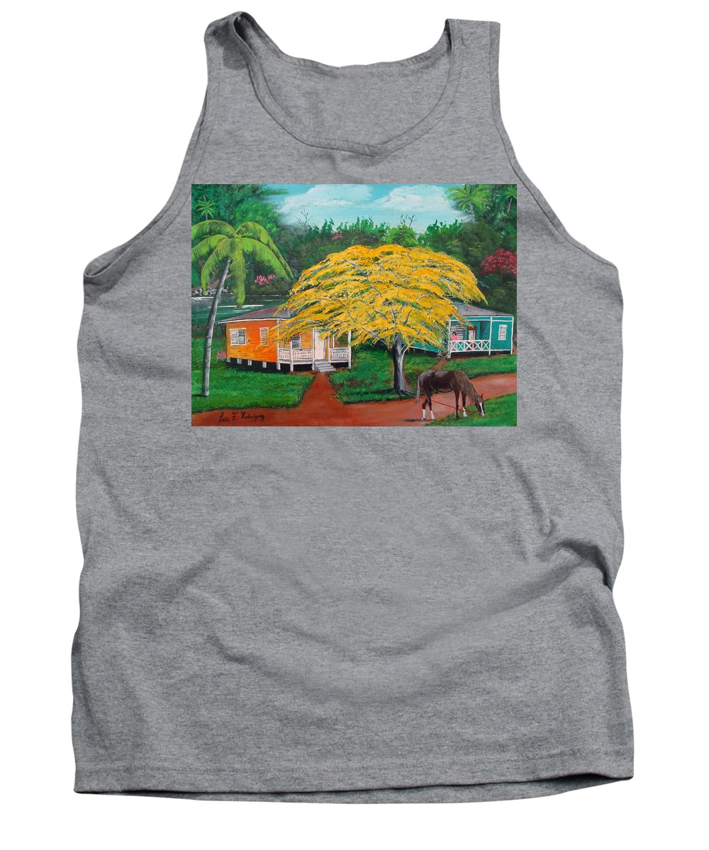 Old Wooden Homes Tank Top featuring the painting Nostalgia by Luis F Rodriguez