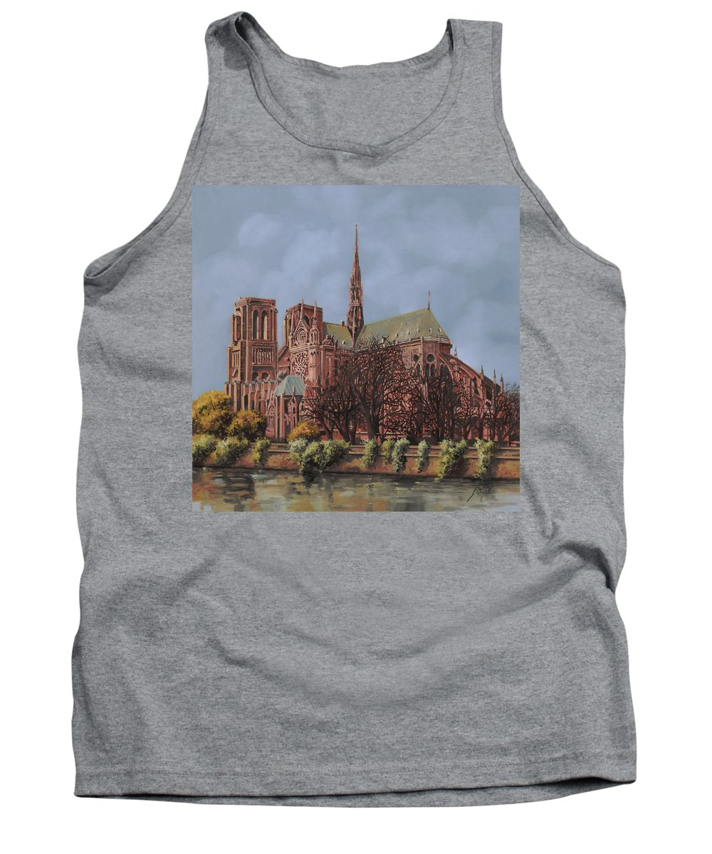 Paris Tank Top featuring the painting Notre-dame by Guido Borelli