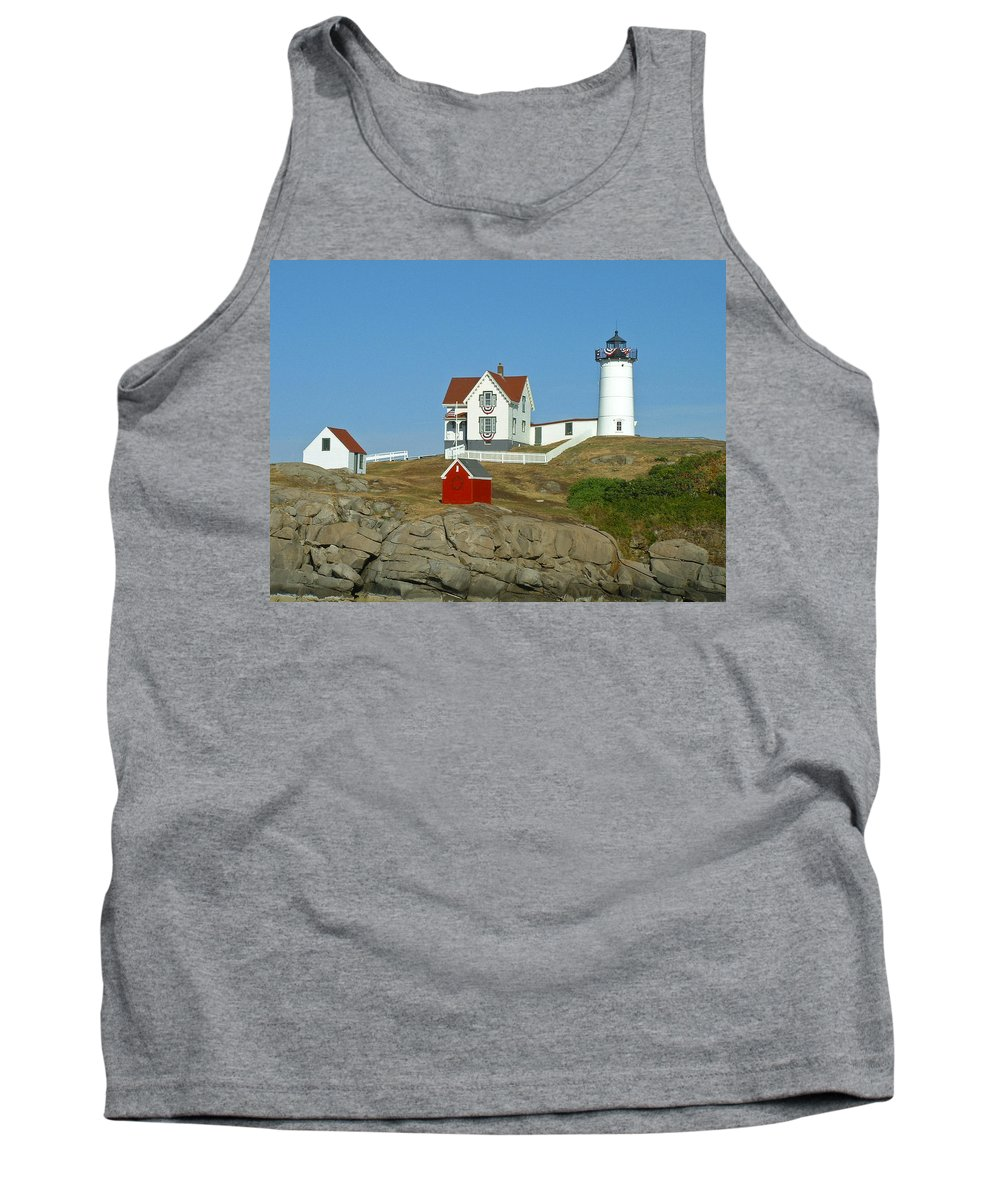 Nubble Tank Top featuring the photograph Nubble Light by Margie Wildblood