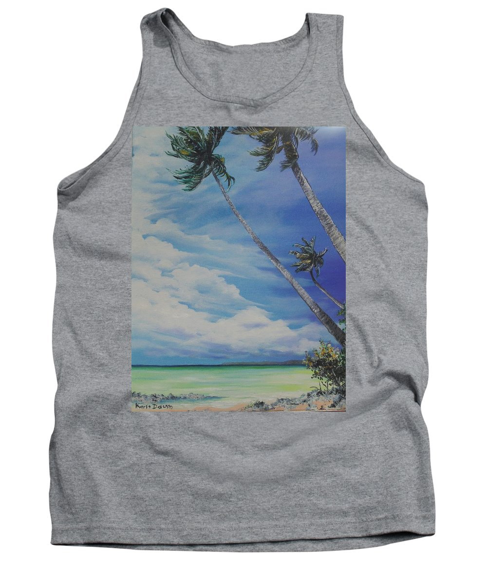 Ocean Painting Seascape Painting Beach Painting Palm Tree Painting Clouds Painting Tobago Painting Caribbean Painting Sea Beach T Obago Palm Trees Tank Top featuring the painting Nylon Pool Tobago. by Karin Dawn Kelshall- Best