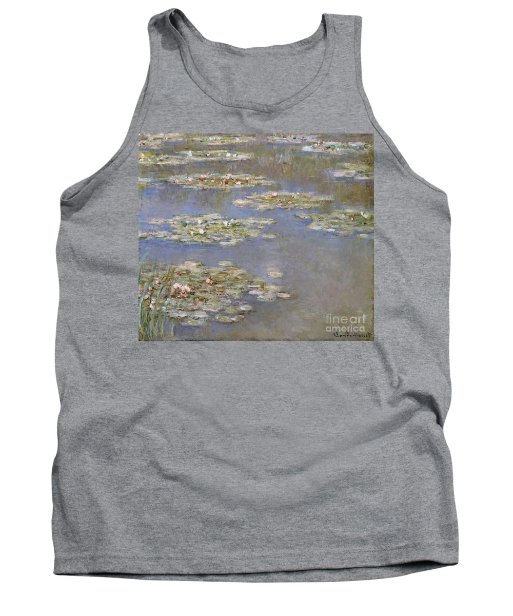 French Tank Top featuring the painting Nympheas by Claude Monet